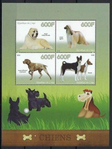 Congo MNH S/S Pure Breed Dogs 2015 4 Stamps