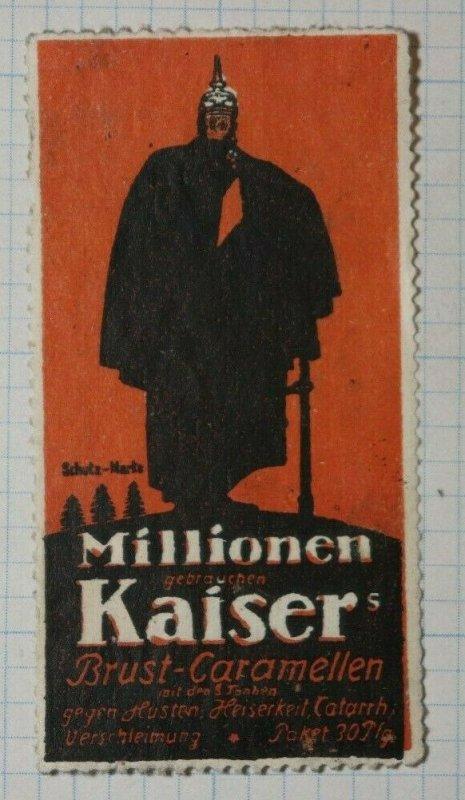 German Kaiser Caramel Candy German Brand Poster Stamp Ads