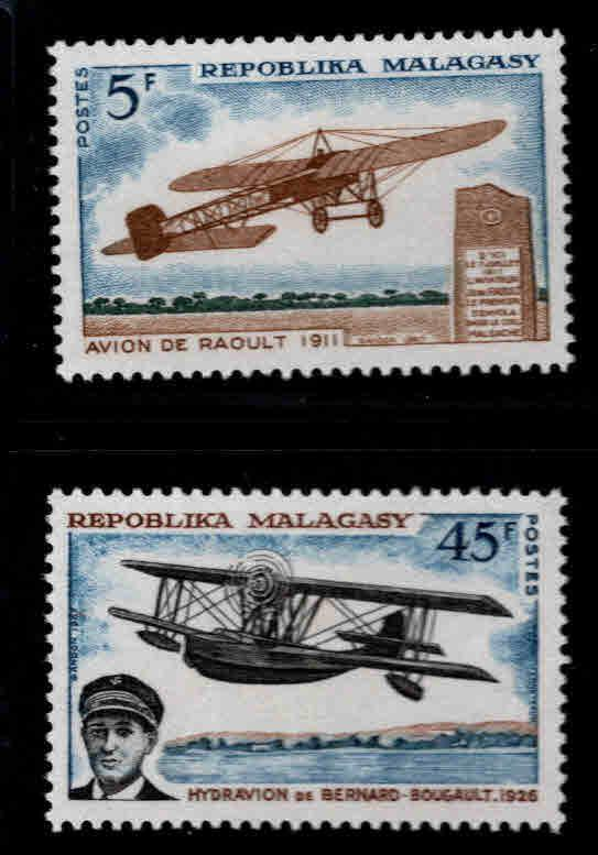Madagascar Scott 400-401 MH* Aviation history set
