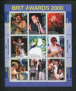 Tajikistan Commemorative Souvenir Stamp Sheet - BRIT Music Awards 2000