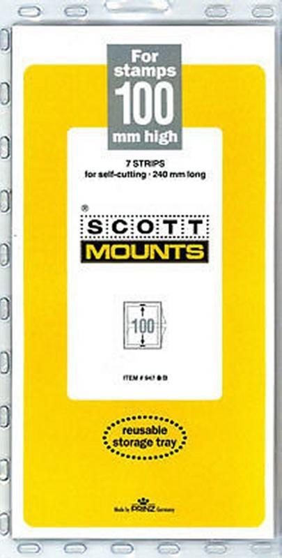 Prinz Scott Stamp Mount 100/240 mm - BLACK (Pack of 7)(100x240 100mm) STRIP  947