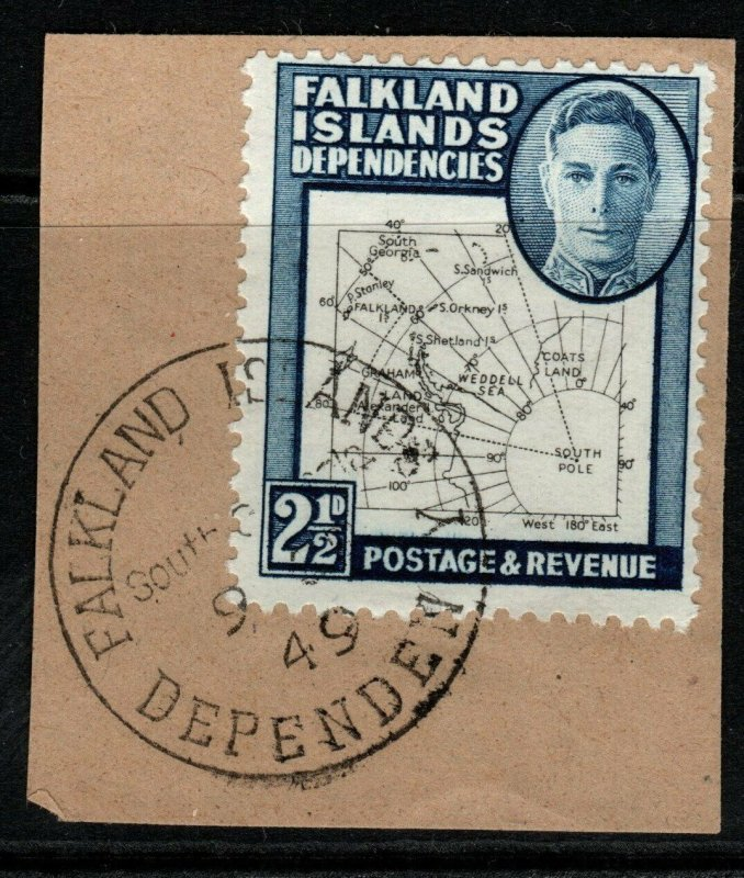 FALKLAND IS.DEP. SGG11b 1949 2½d BLACK & DEEP BLUE FINE USED ON PIECE