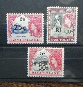 Basutoland 1961 25c on 2/6 50c on 5s R1 on 10s MM