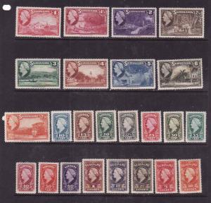 Surinam-Sc#184-207-unused hinged set-Queen Wilhelmina-1945- S/H fee reflects c