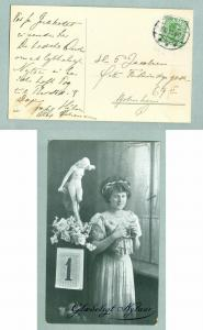 Denmark. Postcard. New Year 1915. Lady Drinking Wine. Stamp 5 Ore King Christian
