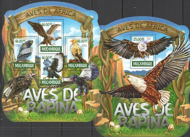 Mozambique 2015 birds of prey fauna klb+s/s MNH