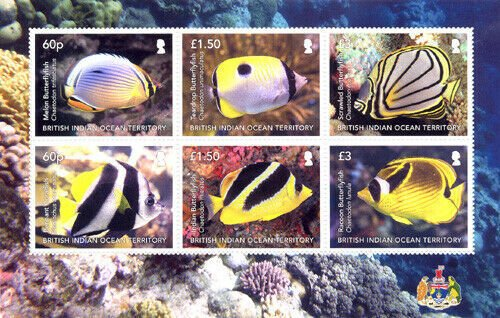 Stamps of BIOT 2021  - Butterfly fish with 6 stamps.  Full sheet.
