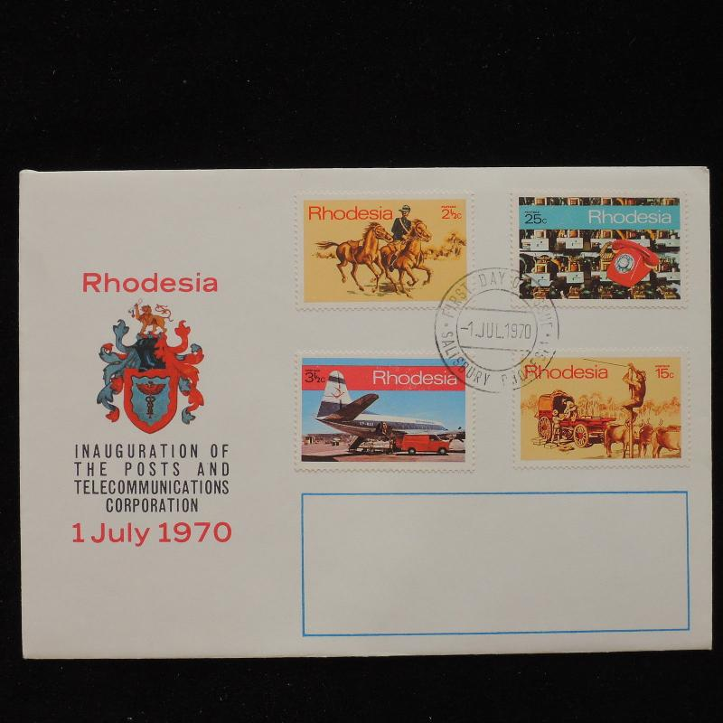 ZS-AC717 RHODESIA - Fdc, 1970 Inauguration Of Posts And Telecomm. Corp. Cover
