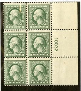 US Stamps # 536 1c Washington Plate Block Of6 FVF OG NH