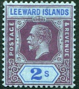 LEEWARD ISLANDS-1926 2/- Red-Purple & Blue/Blue Sg 74a LIGHTLY MOUNTED MINT