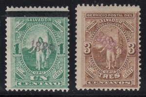 El Salvador 1889 1c & 3c with Violet Handstamp Overprint LM Mint. Scott 26-27