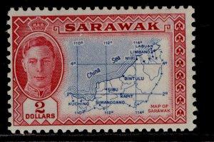 SARAWAK GVI SG184, $2 blue & carmine, NH MINT. Cat £45.