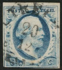 Netherlands Scott 1 nice cancel 1852  stamp  CV$32.50 thin