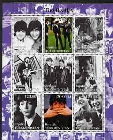 Turkmenistan 2000 The Beatles perf sheetlet containing se...