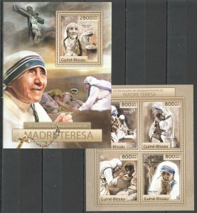 BC511 2012 GUINEA-BISSAU 15TH ANNIVERSARY OF THE DEATH MOTHER TERESA BL+KB MNH