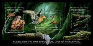 Guinea - Endangered Animals of West Africa - 3 Stamp Sheet - 7B-1803