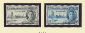 Turks and Caicos islands Scott #90 To 91, Two Stamp Peace With George VI, Bri...