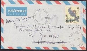 NEW ZEALAND TO PITCAIRN IS 1998 cover RETURNED TO SENDER....................5223