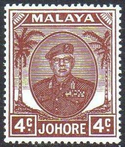 Johore 1949 4c brown MH