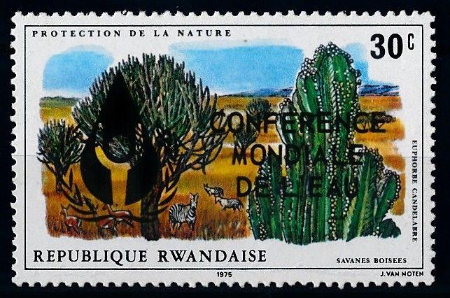 [66535] Rwanda 1977 Flora Plants Zebra Overprint From Set MNH