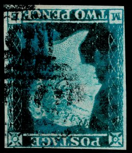 SG14Wi, 2d blue WMK INVERTED, FINE used. Cat £875.