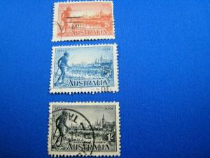 AUSTRALIA - SCOTT #142, 143a, 144a  -  USED   (wwa16)