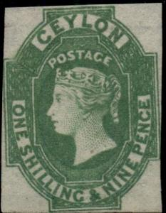 CEYLON #12, 1sh9p green, unused no gum, VF+, R.P.S. certificate, Scott $950.00