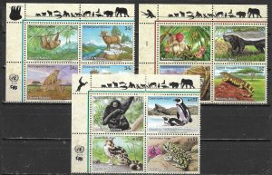 United Nations 821a, G 389a, V 311a 2002 Endangered Species Block MNH (lib)