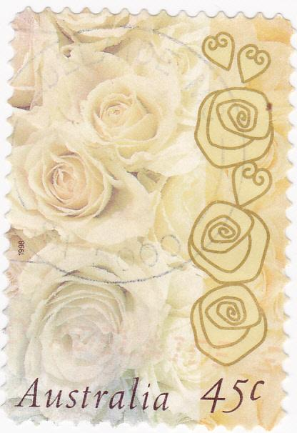 Australia 1998 Greeting Stamp -Champagne Roses 45c used