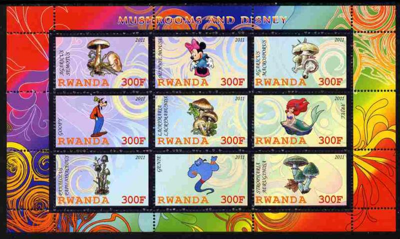 RWANDA SHEET DISNEY ANIMATION MUSHROOMS
