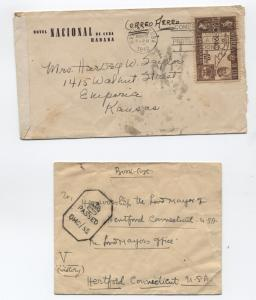 Pair of 1942 WWII censored covers Havana and India to US [y1851]