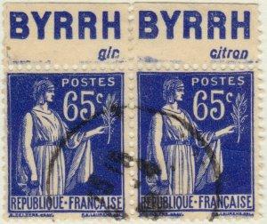 FRANCE - 1937 Pubs BYRRH (gin & citron) supérieures sur paire Yv.365b 65c Paix