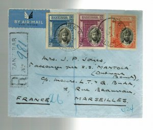 1937 Zanzibar Silver Jubilee cover set # 215-217  to France via SS Mantola Ship