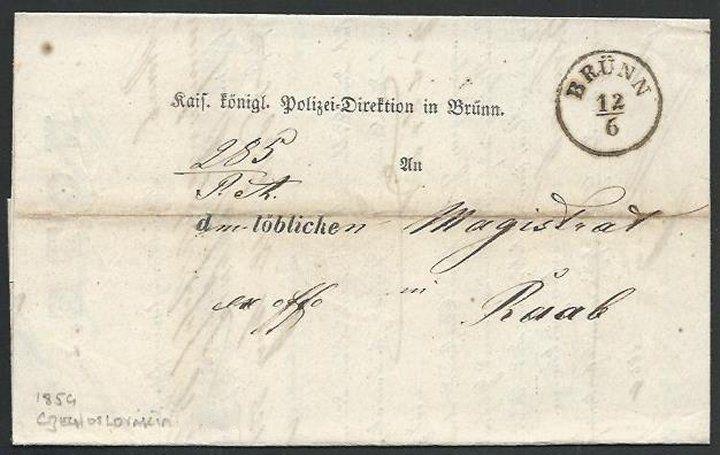 AUSTRIA CZECHOSLOVAKIA 1859 entire ex BRUNN to Raab........................61258