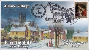 18-331, 2018, Christmas, Pictorial Postmark, Event Cover, Allaire Village, Farmi