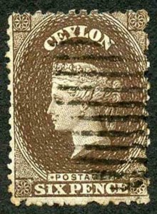 Ceylon SG55b 6d Deep Brown Wmk Crown CC Used