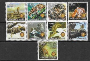 Guinea MNH Set Of 9 Wild Animals LOOOOOK!!!!!!!