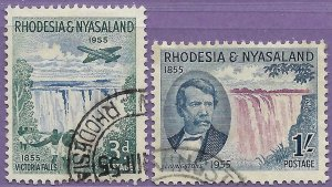 Rhodesia & Nyasaland sg 16-7 used 1955 set of 2 Discovery of Victoria Falls