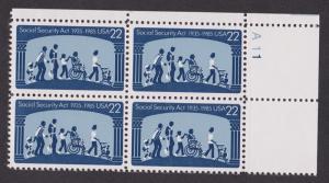 2153 Social Security MNH Plate Block UR