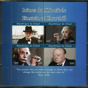 ICONS OF THE 20th CENTURY EINSTEIN & CHURCHILL SHEET MINT NEVER HINGED