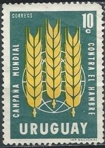Uruguay 700 (used, creased) 10c FAO Freedom from Hunger, grn & yel (1963)