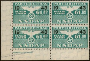 Germany NSDAP Party 1943 61.80RM Dues Revenue Imprint Block Stamp 96226