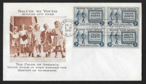 UNITED STATES FDC 3¢ Youth Month BLOCK 1948 Fulton