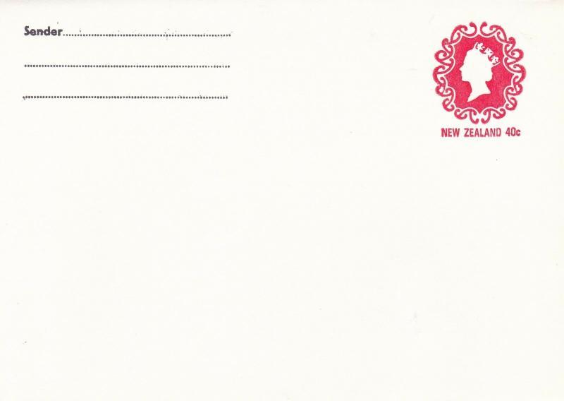 New Zealand 40c Elizabeth prepaid envelope unused VGC