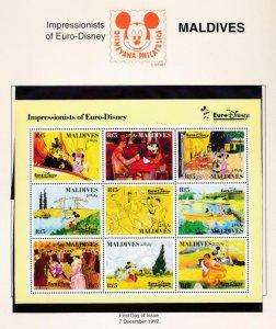 DISNEY MALDIVES 1827 MINT NH IMPRESSIONISTS OF EURO-DISNEY