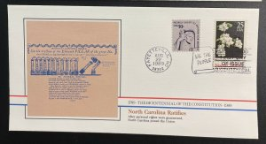 US #2347 FDC + #1592 - Bicentennial of Constitution 1787-1987 [BIC70]