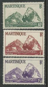 Martinique # 220-222 Cliffs    (3) VF Unused