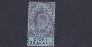GIBRALTAR  1903  SG 54  8/-  DULL PURPLE & BLACK  MH  CAT £170