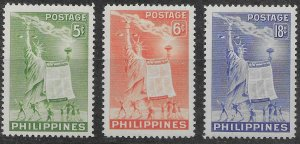 Philippines #572-574 MNH Statue of Liberty - Human Rights.