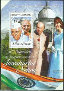 SAO TOME 2014  50th MEMORIAL NEHRU WITH JACQUELINE KENNEDY & GANDHI S/S  MINT NH